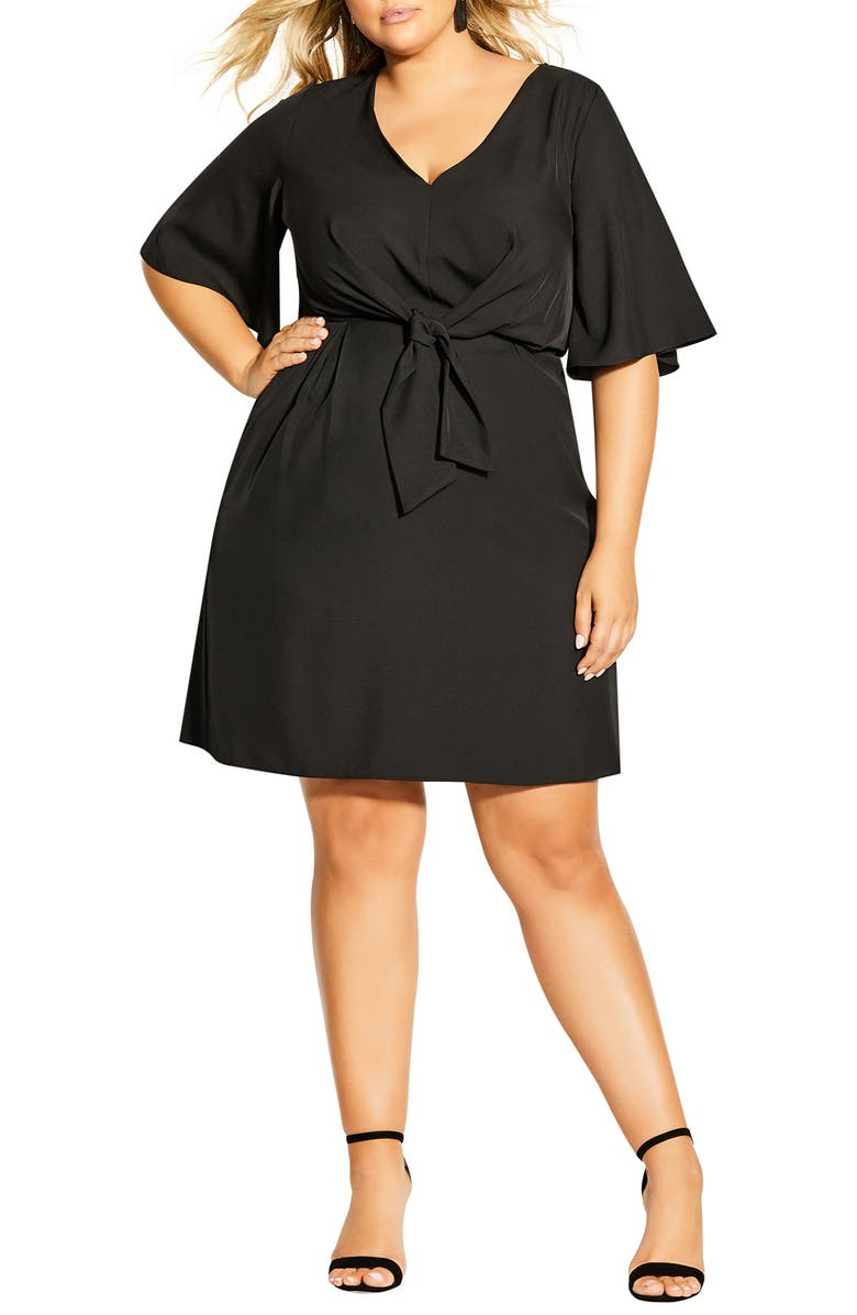 CITY CHIC Knot Front Fit & Flare Dress, Main, color, 001
