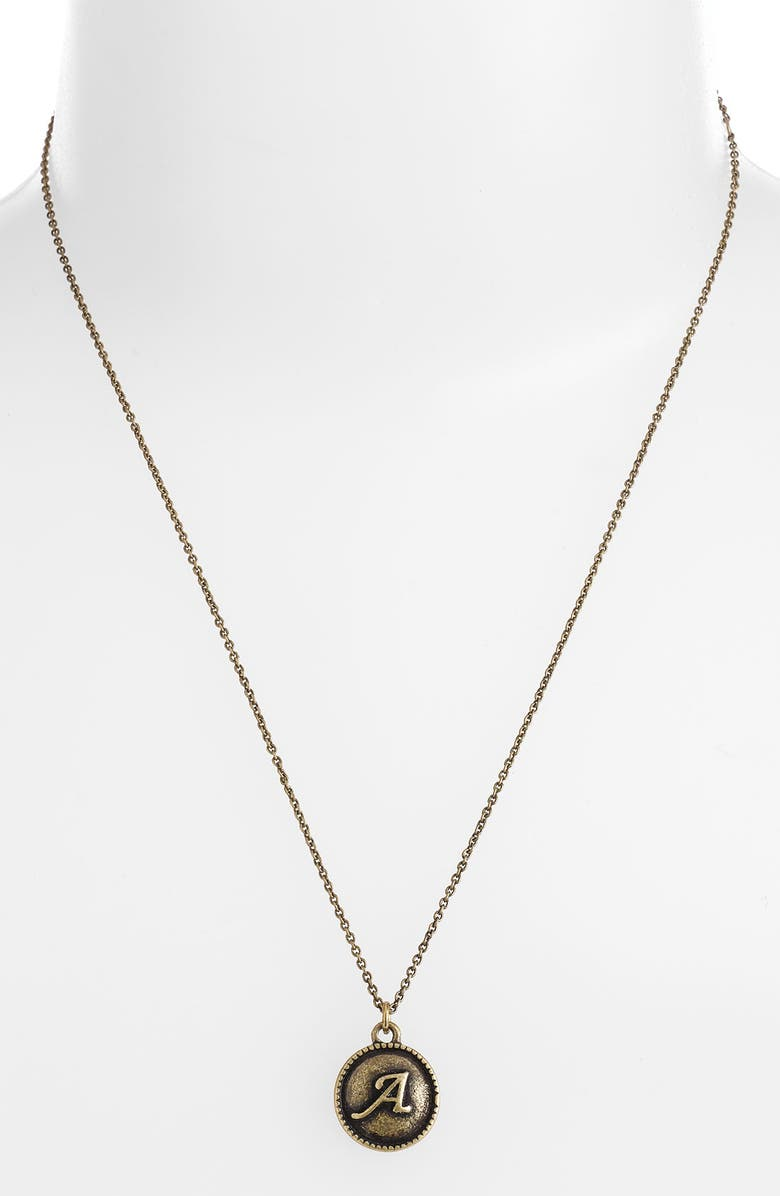 CAROLE 'Initial' Pendant Necklace, Main, color, BURNISHED GOLD A