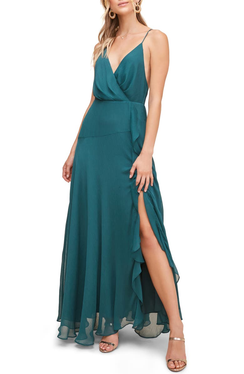 ASTR THE LABEL Floral Ruffle Detail Maxi Dress, Main, color, Dark Green