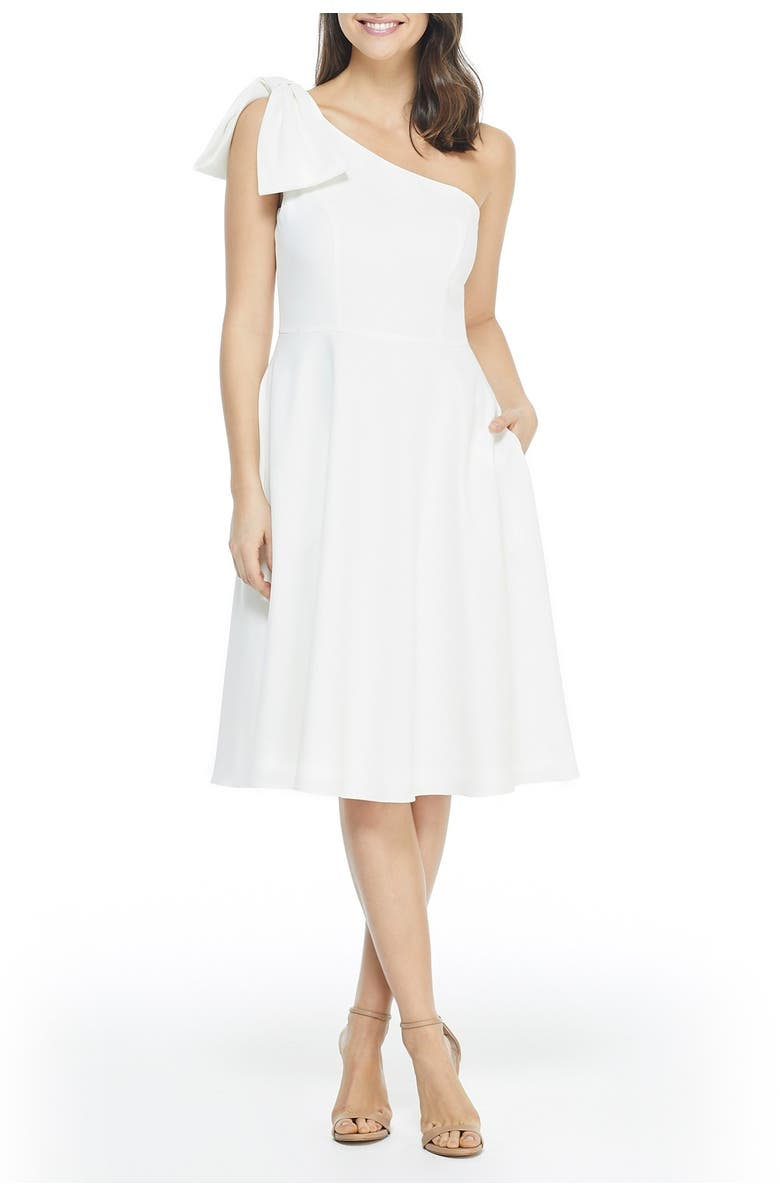 GAL MEETS GLAM COLLECTION Yvonne Dream Crepe One-Shoulder Dress, Main, color, 105