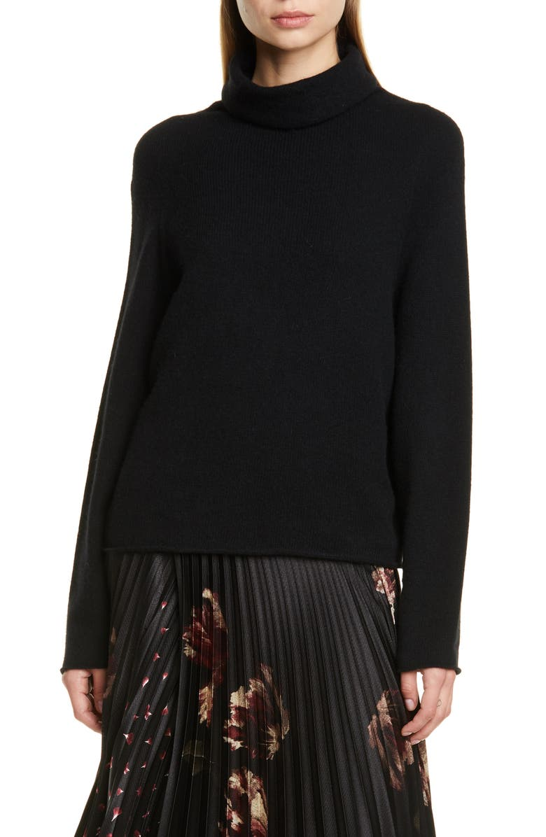 VINCE Seamless Cashmere Turtleneck Sweater, Main, color, 001