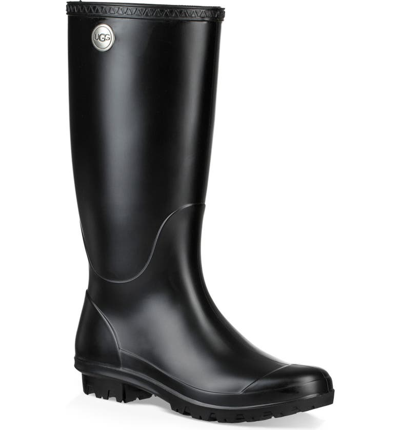 UGG<SUP>®</SUP> Shelby Matte Waterproof Rain Boot, Main, color, BLACK RUBBER