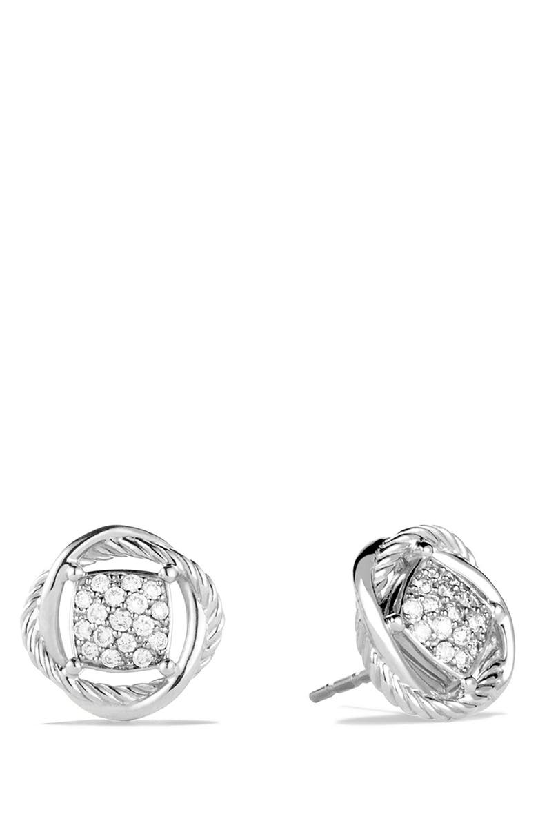 DAVID YURMAN Infinity Pavé Diamond Stud Earrings, Main, color, DIAMOND