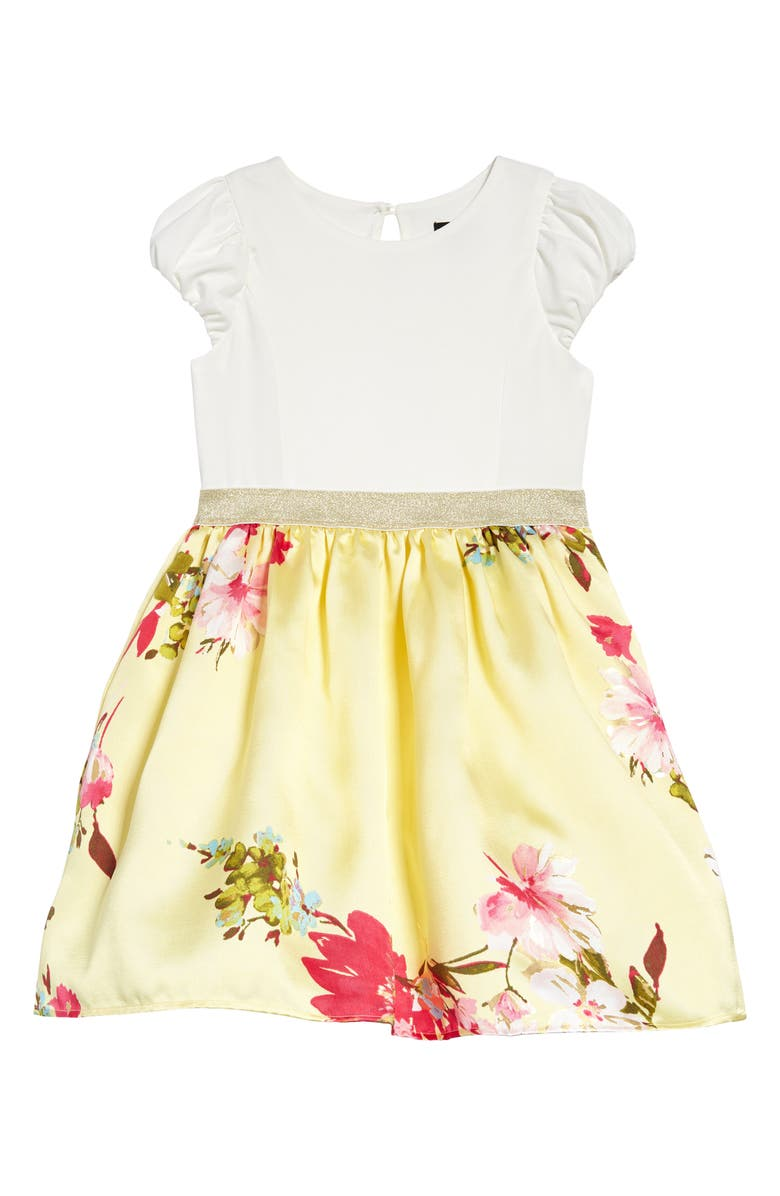 ZUNIE Kids' Floral Print Fit & Flare Dress, Main, color, IVORY YELLOW