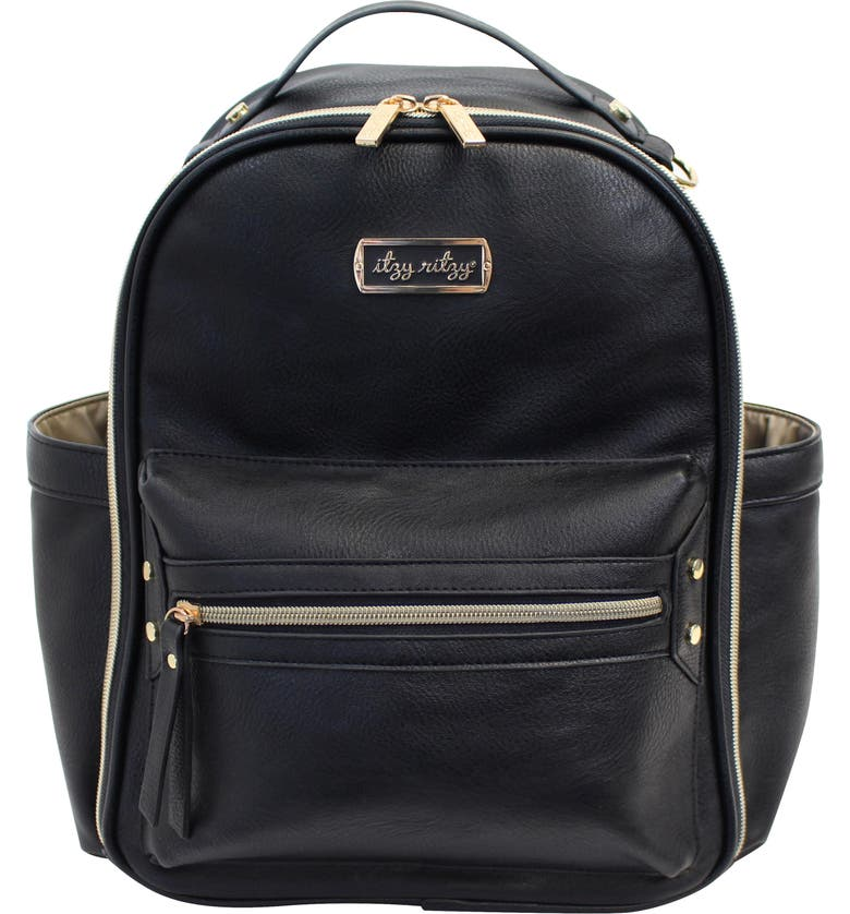 ITZY RITZY Faux Leather Mini Diaper Backpack, Main, color, 001