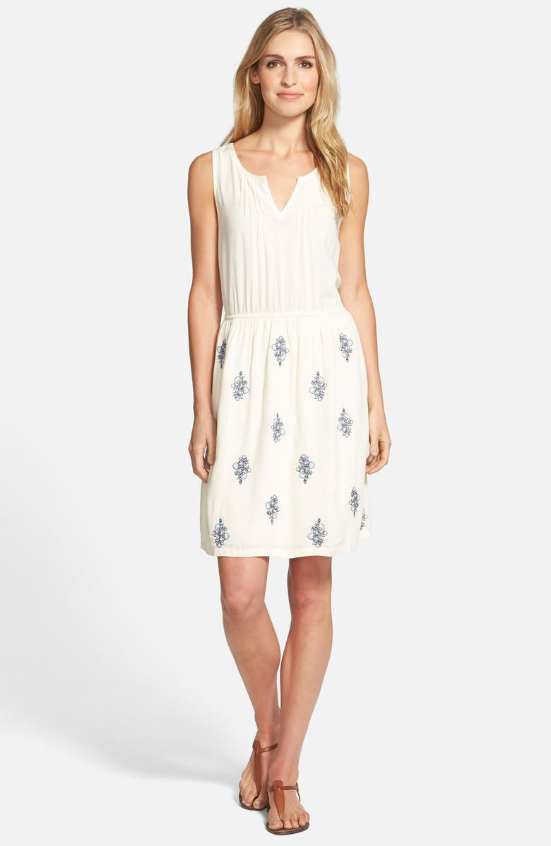 CASLON<SUP>®</SUP> Embroidered Sleeveless Blouson Dress, Main, color, TAYLOR IVORY- BLUE FLORAL