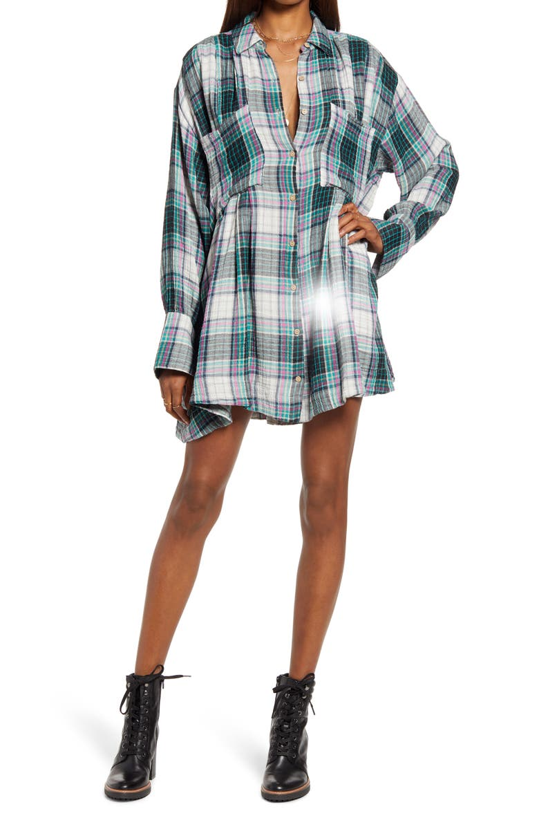 FREE PEOPLE The Voyage Shirtdress, Main, color, TWILIGHT COMBO