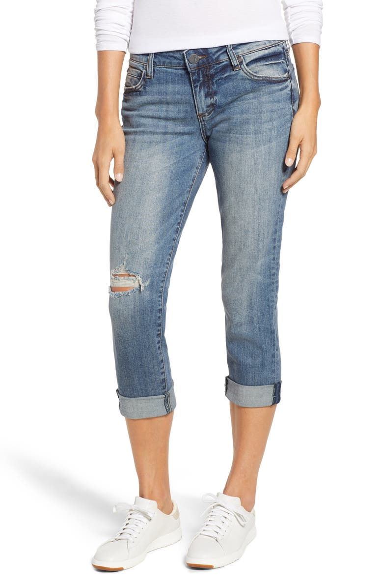 KUT FROM THE KLOTH Catherine Ripped Straight Leg Ankle Jeans, Main, color, INCREASE
