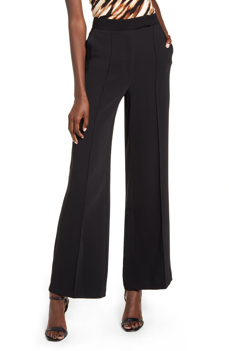 TOPSHOP Pintuck Pleat Wide Leg Trousers, Main, color, 001
