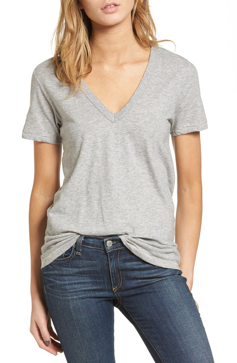 RAG & BONE The Vee Tee, Main, color, HEATHER GREY