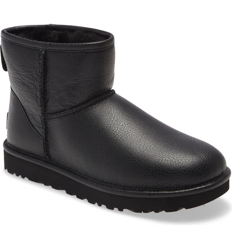 UGG<SUP>®</SUP> Classic Mini II Genuine Shearling Lined Boot, Main, color, BLACK LEATHER