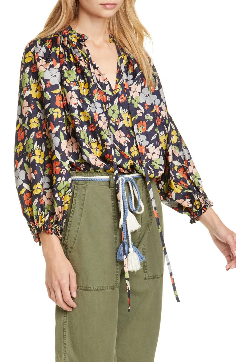 THE GREAT. The Lyric Silk Top, Main, color, 001