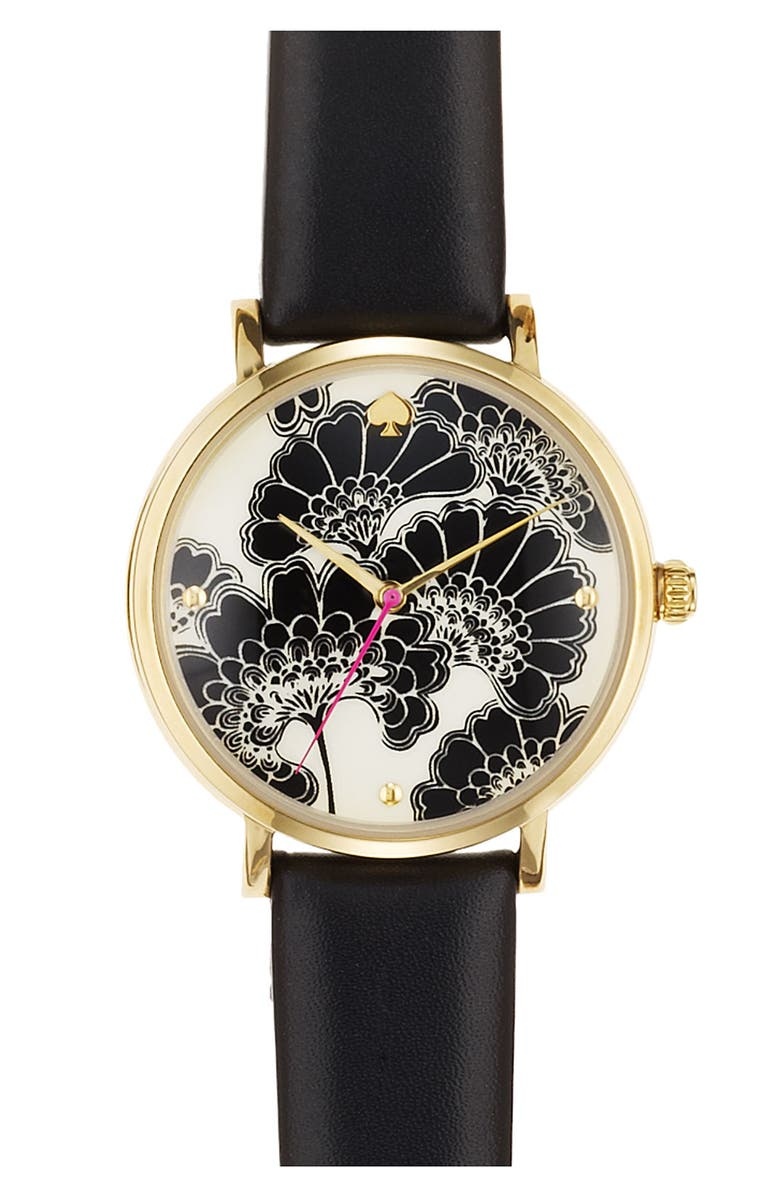 KATE SPADE NEW YORK 'metro' patterned dial watch, Main, color, 001