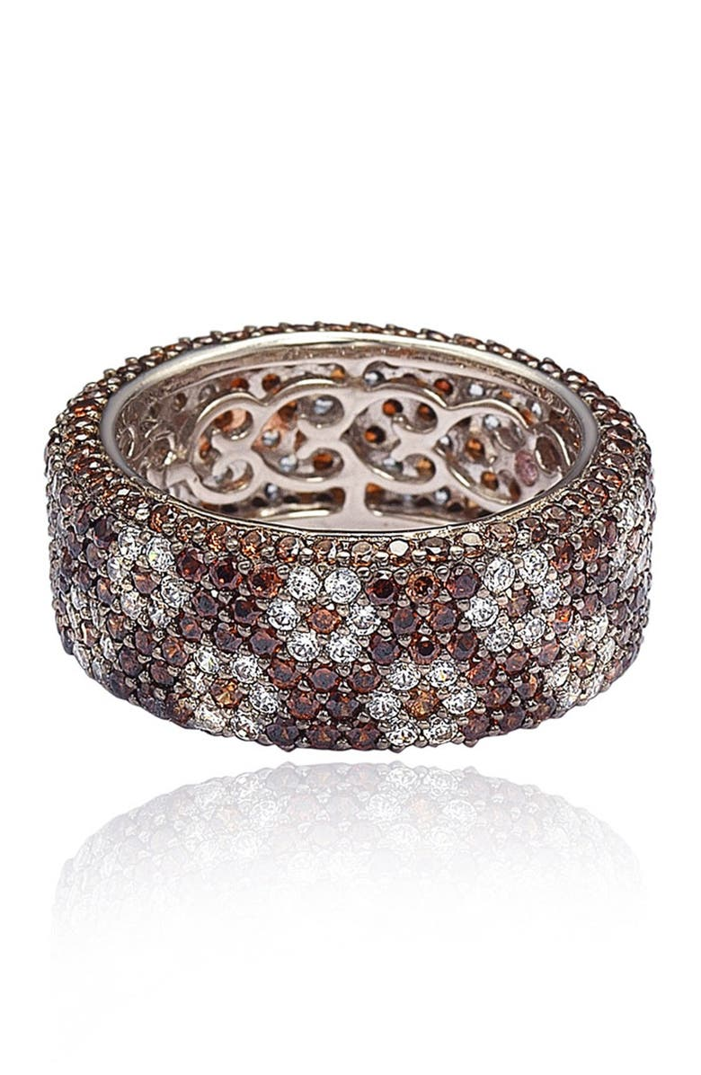SUZY LEVIAN Sterling Silver Brown & White Cubic Zirconia Floral Eternity Band, Main, color, BROWN