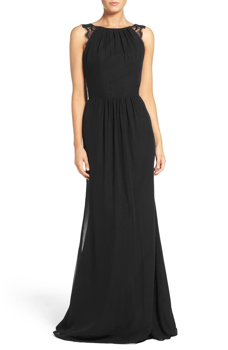 HAYLEY PAIGE OCCASIONS Lace Strap Gathered Chiffon Gown, Main, color, 001