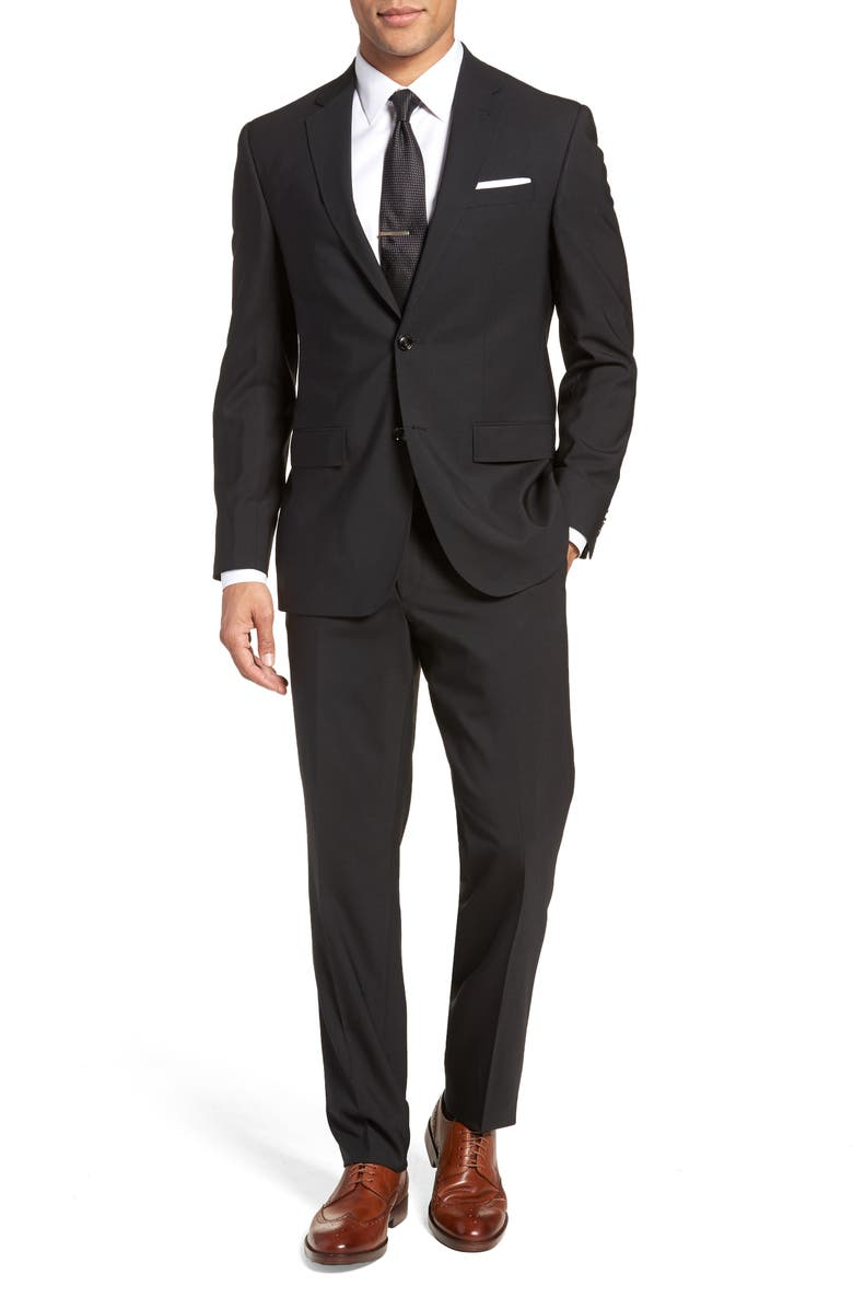 TED BAKER LONDON Jay Trim Fit Solid Wool Suit, Main, color, 001
