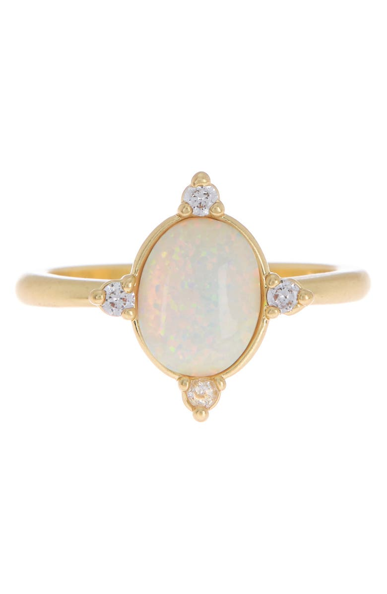 COVET 14K Gold Plated Imitation Opal Ring, Main, color, WHITE