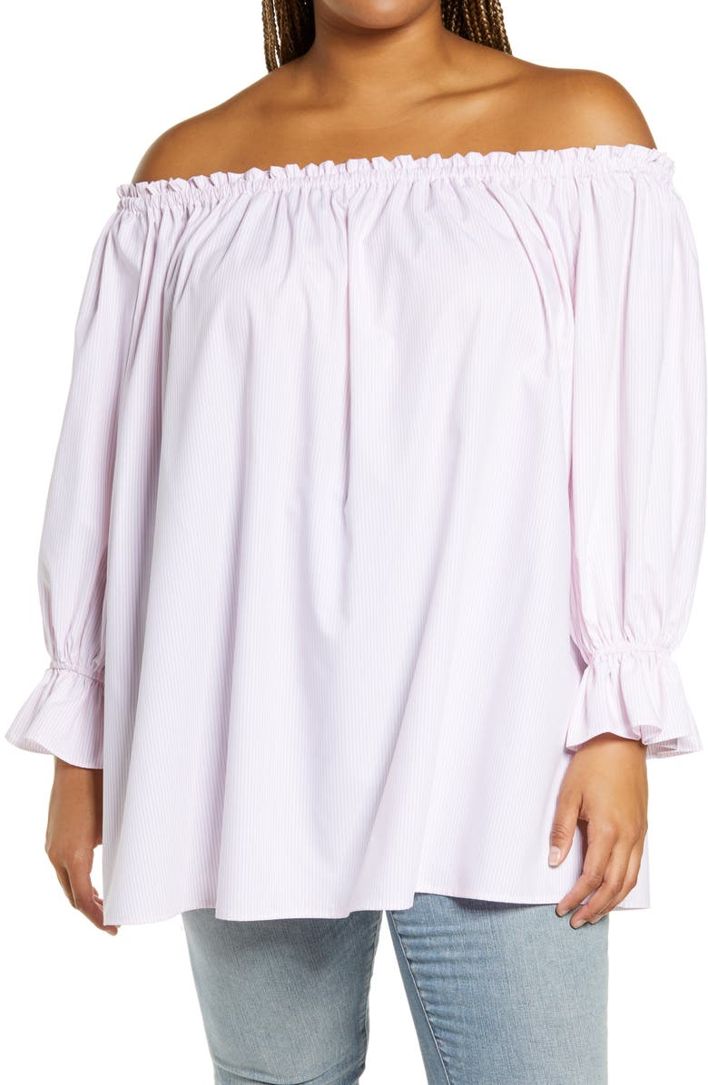 WAYF Freeman Off the Shoulder Tunic, Main, color, PINK PINSTRIPE