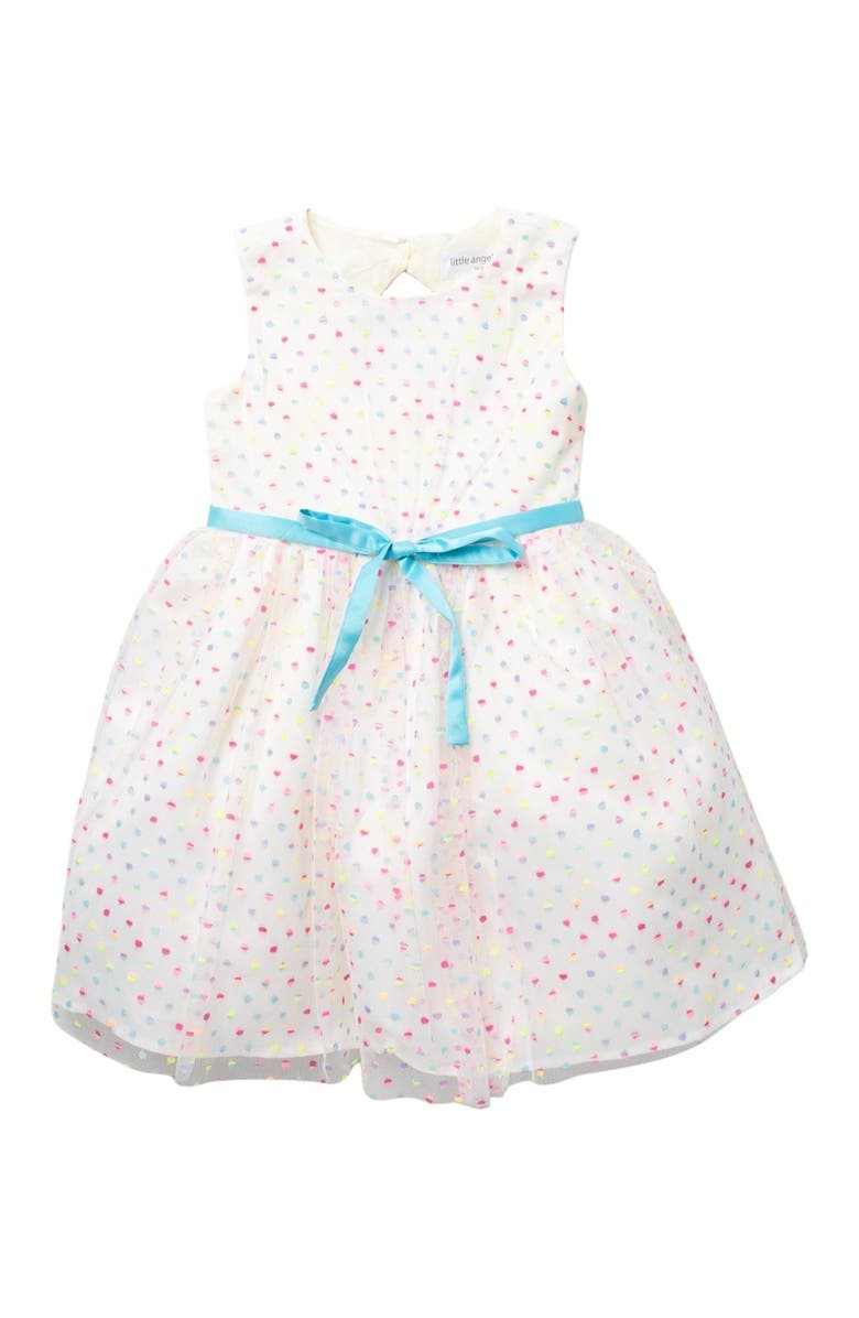 LITTLE ANGELS Embroidered Mesh Dot Dress, Main, color, MULTI