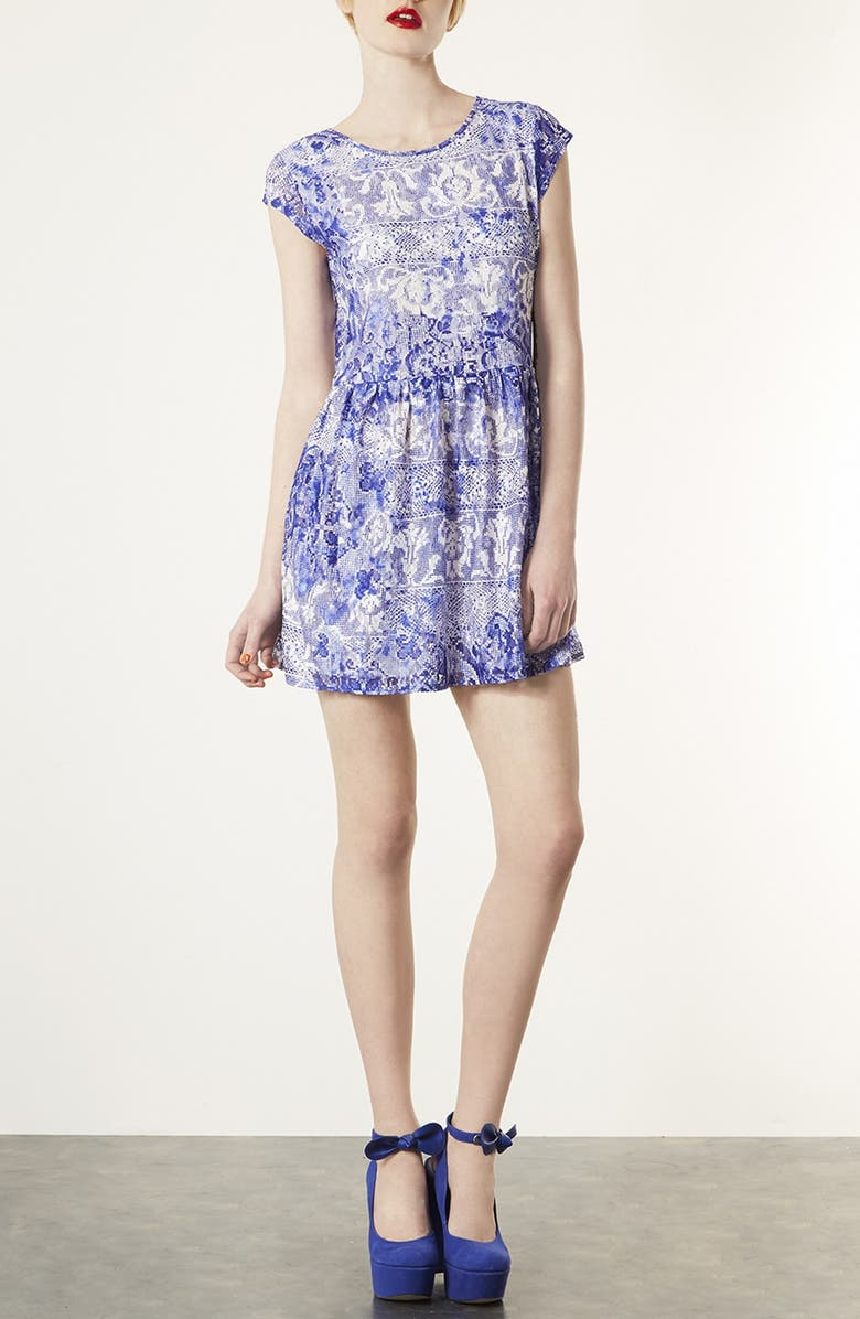 TOPSHOP 'China Lace' Dress, Main, color, 400