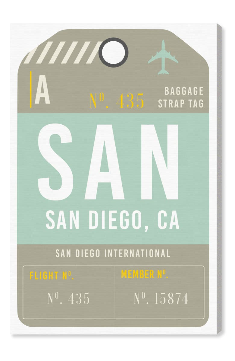OLIVER GAL San Diego Luggage Tag Wall Art, Main, color, 300
