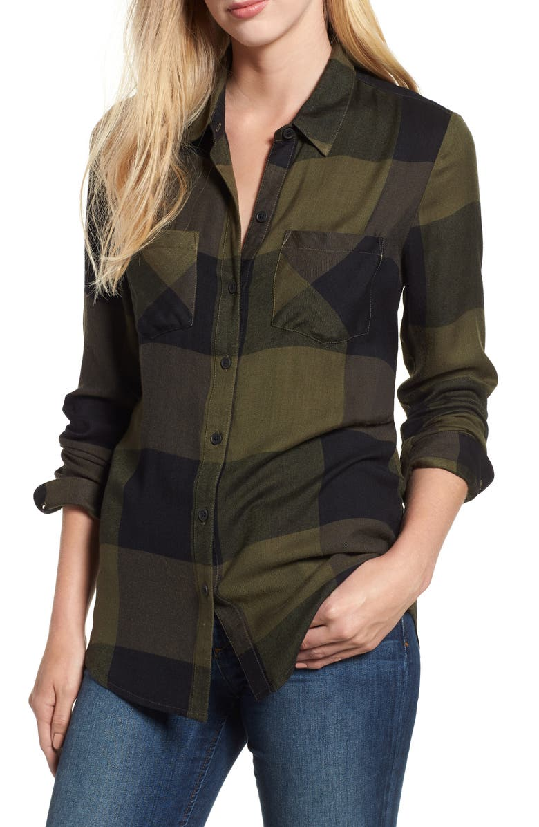LUCKY BRAND Plaid Button Down Shirt, Main, color, OLIVE MULTI