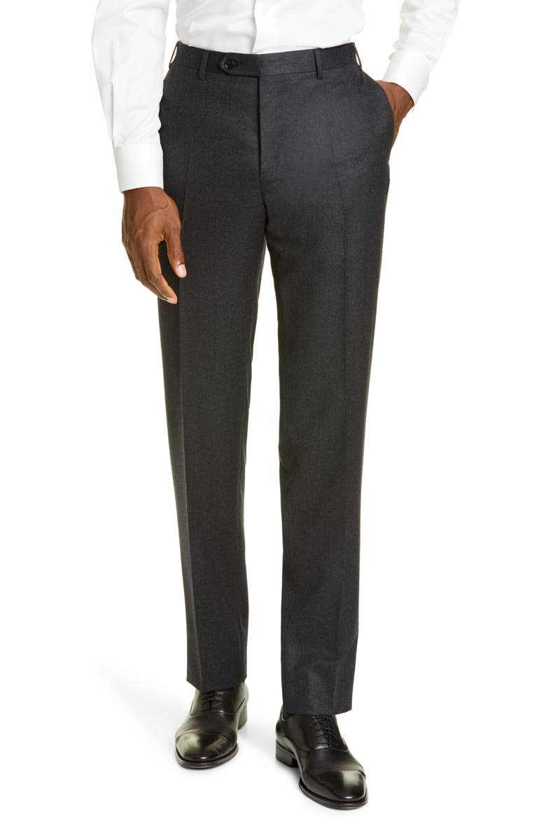 CANALI Flat Front Flannel Wool Trousers, Main, color, 020