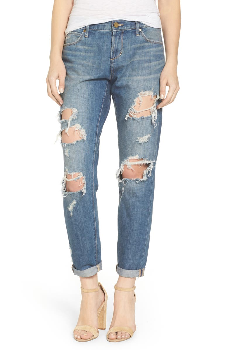 ARTICLES OF SOCIETY Janis Ripped Boyfriend Jeans, Main, color, 400