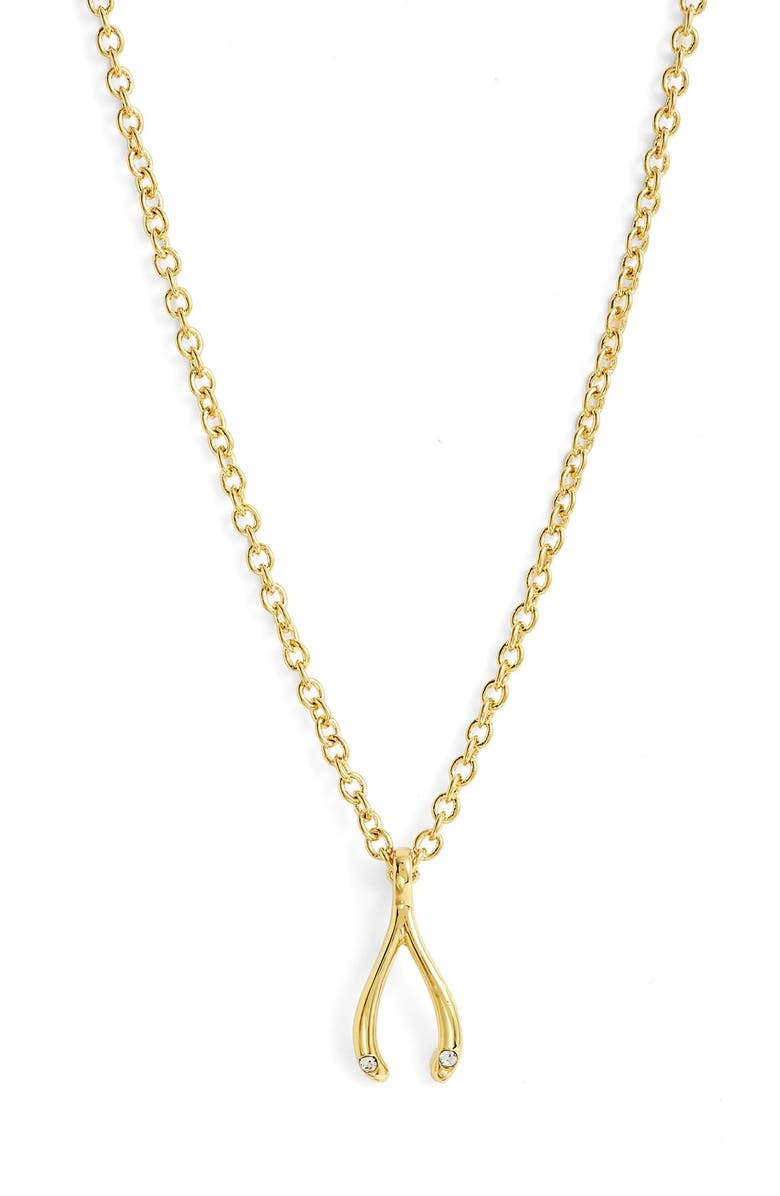KATE SPADE NEW YORK ' dainty sparklers' wishbone pendant necklace, Main, color, Gold
