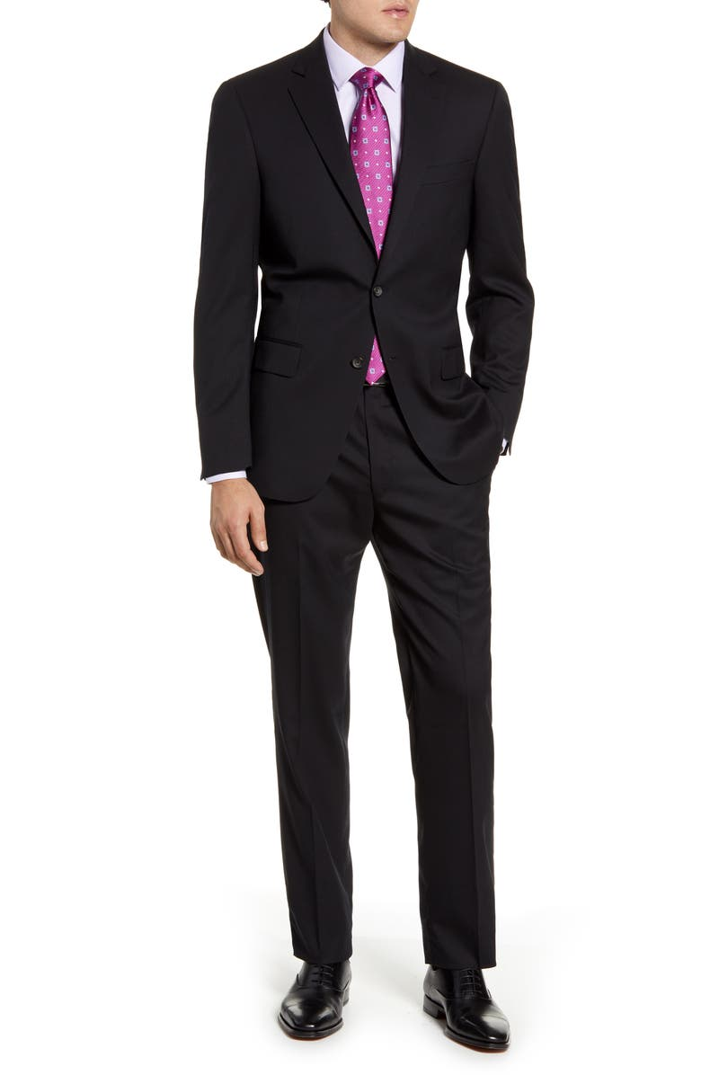 HART SCHAFFNER MARX New York Classic Fit Solid Stretch Wool Suit, Main, color, 001