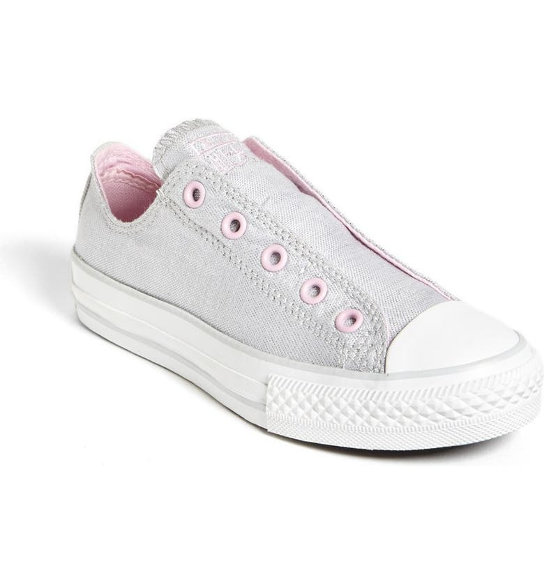 CONVERSE Chuck Taylor<sup>®</sup> All Star<sup>®</sup> 'Frayless' Metallic Slip-On, Main, color, METALLIC SILVER/ FAIRY TALE