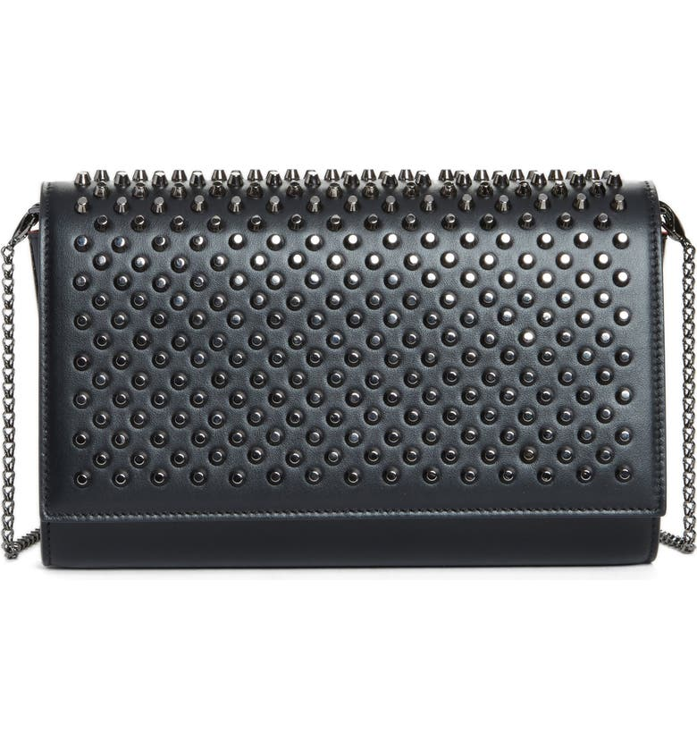 CHRISTIAN LOUBOUTIN Paloma Spike Leather Clutch, Main, color, BLACK/ GUNMETAL