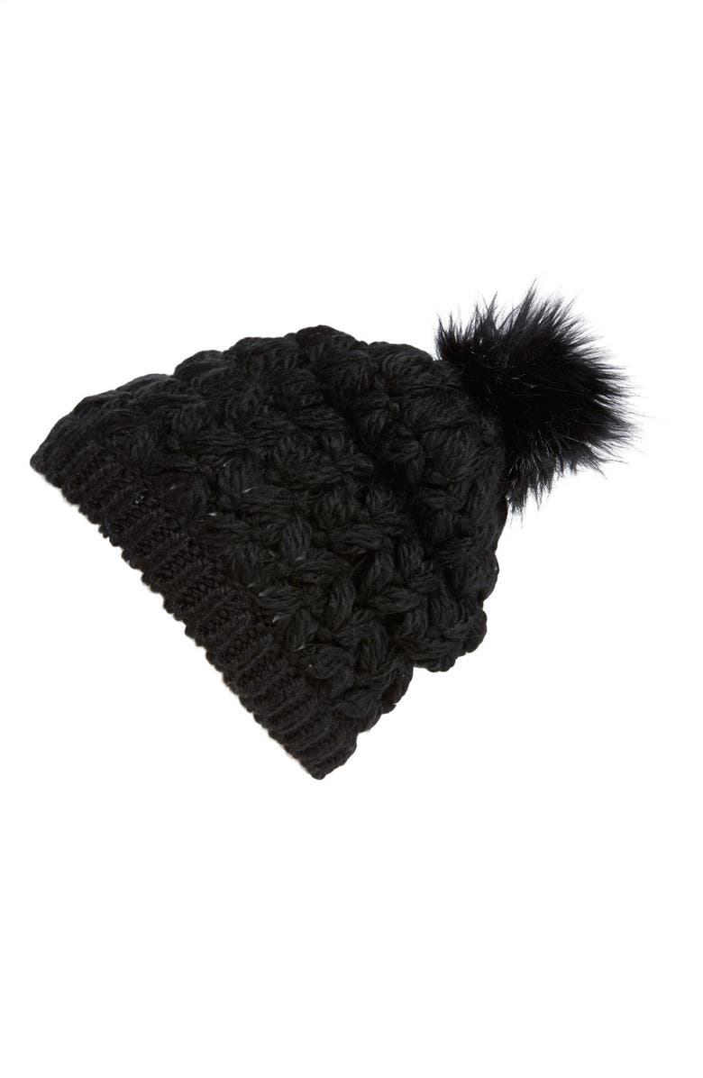 COLLECTION XIIX Crochet Pompom Beanie, Main, color, 001