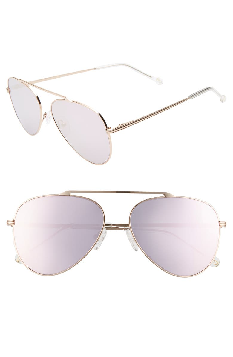 COLORS IN OPTICS Cosmic 58mm Aviator Sunglasses, Main, color, 681