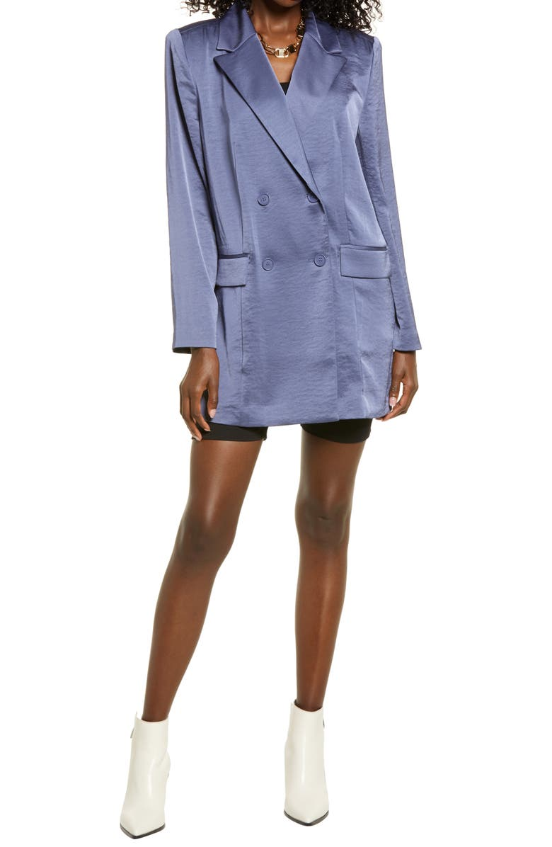 OPEN EDIT Double Breasted Tunic Blazer, Main, color, BLUE SHADOW