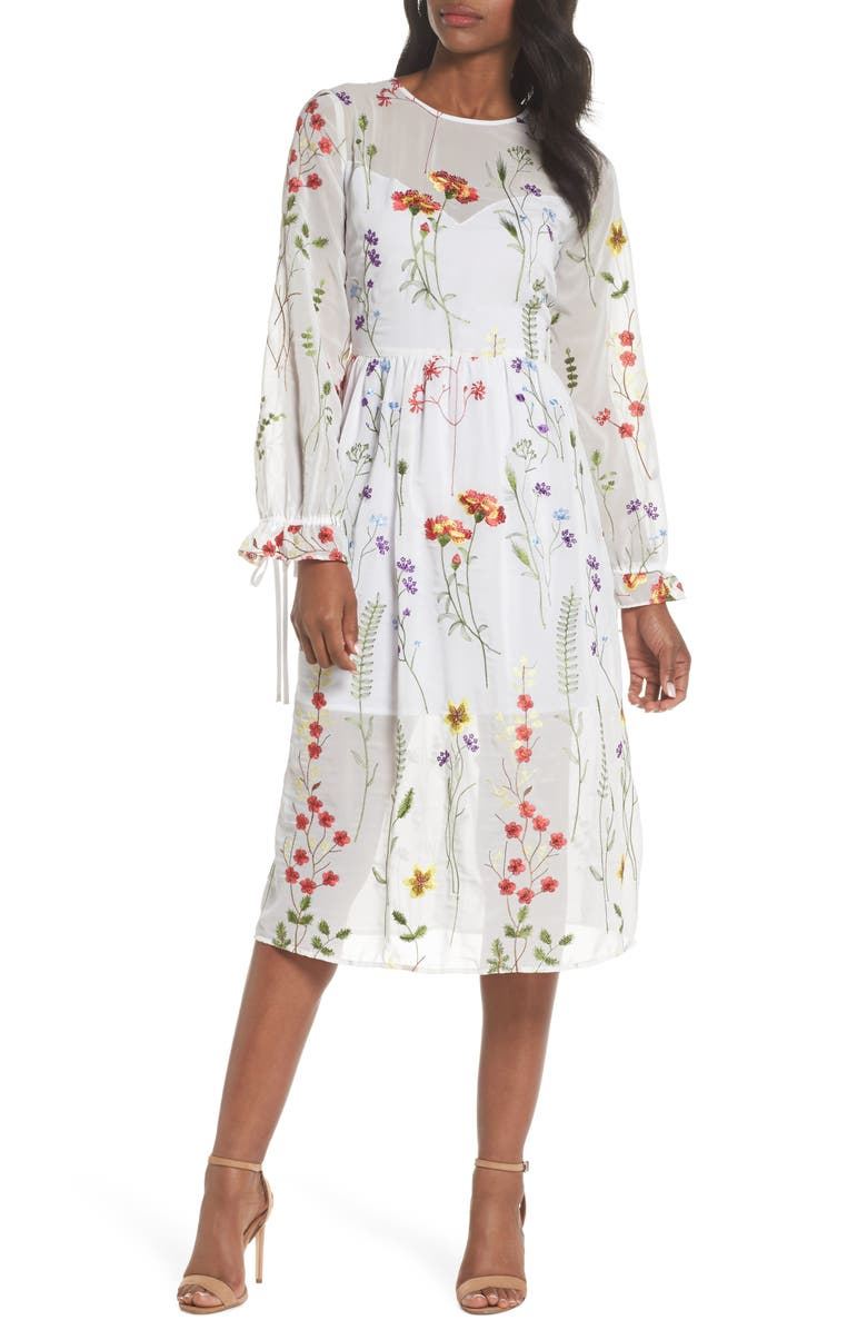 CHELSEA28 Sheer Embroidered Midi Dress, Main, color, WHITE EMBROIDERY FLORAL