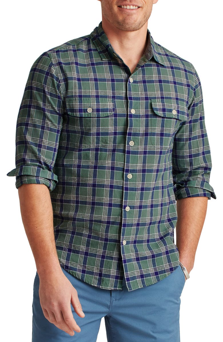 BONOBOS Plaid Madras Button-Up Shirt, Main, color, ATKA PLAID - SAGE LEAF