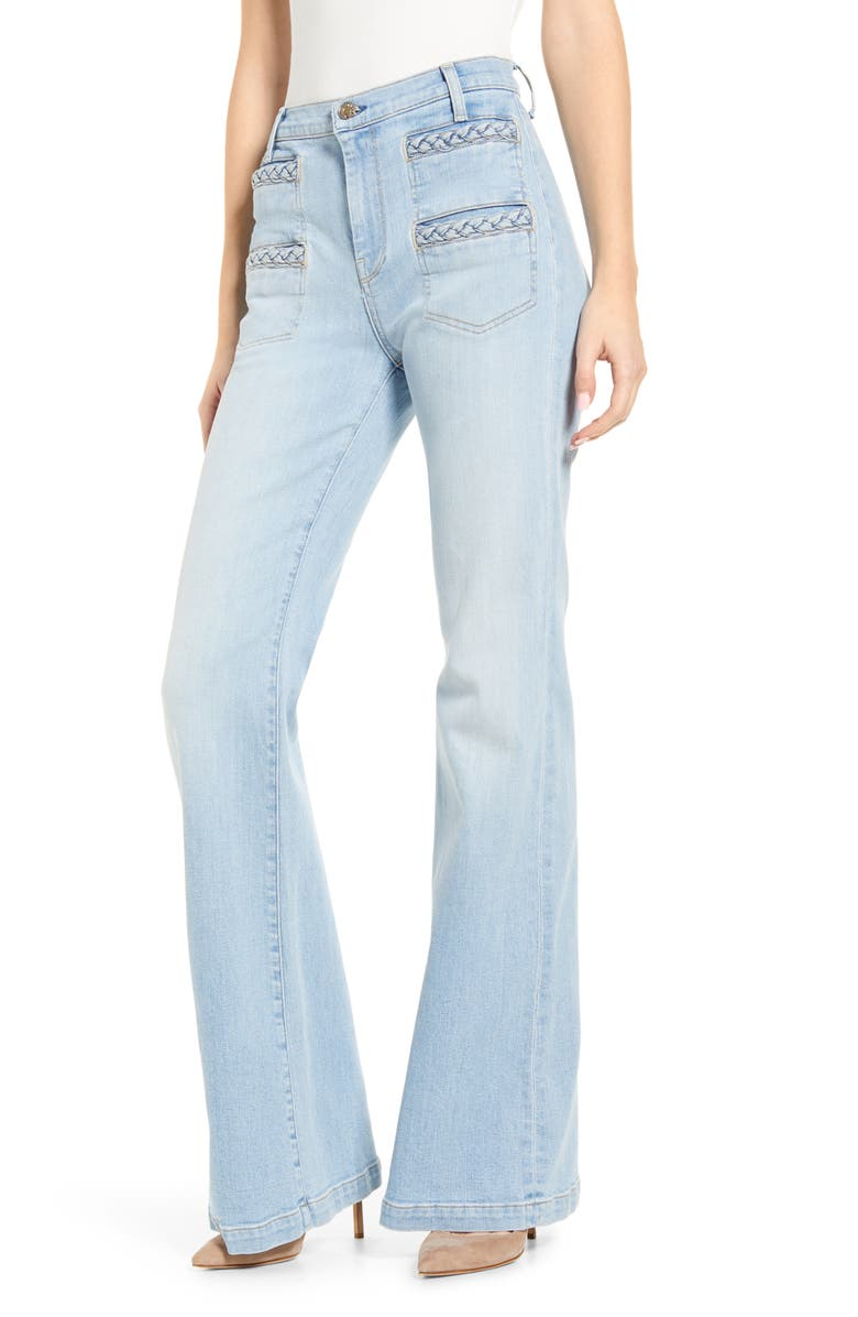 7 FOR ALL MANKIND<SUP>®</SUP> Georgia Braided Welt High Waist Flare Jeans, Main, color, ROXY LIGHT