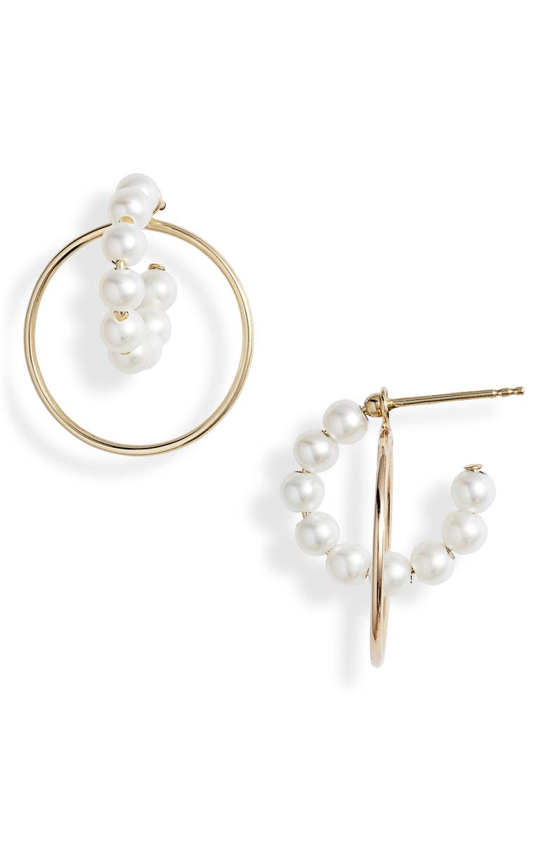 POPPY FINCH Pearl Hoop Convertible Drop Back Earrings, Main, color, 710