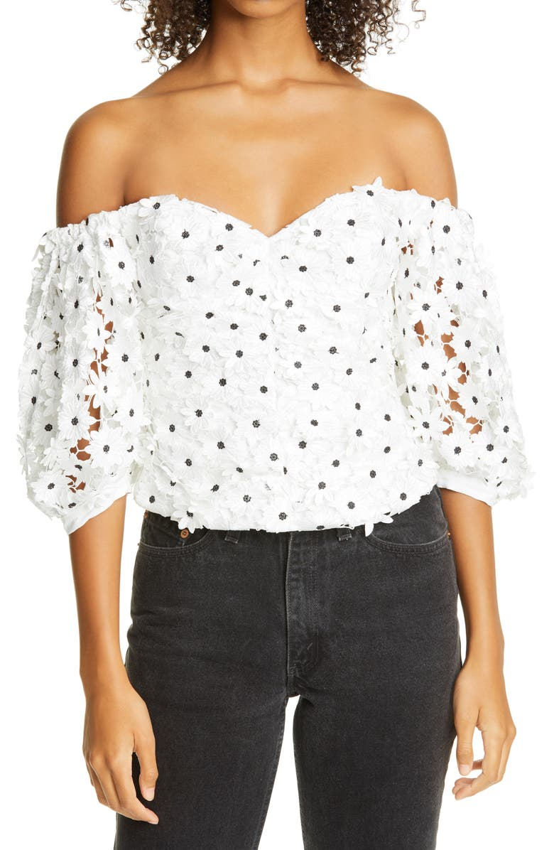 SELF-PORTRAIT Daisy Guipure Lace Puff Sleeve Off the Shoulder Top, Main, color, 100