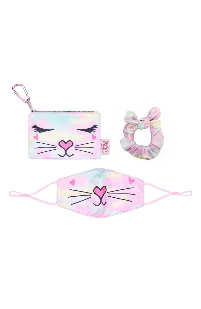 OMG ACCESSORIES OMG Kids' Bella the Kitty Camo Face Mask, Scrunchie & Pouch Set, Main, color, PINK