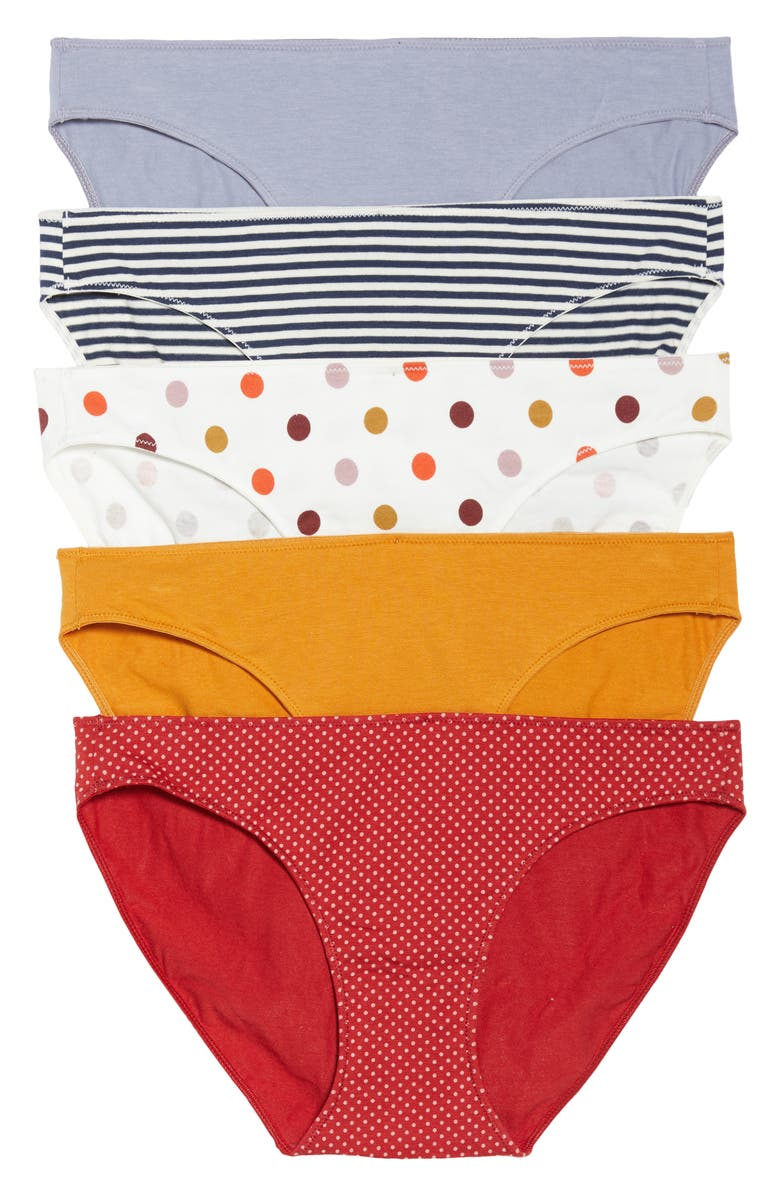 MADEWELL 5-Pack Stretch Cotton & Modal Bikinis, Main, color, 400