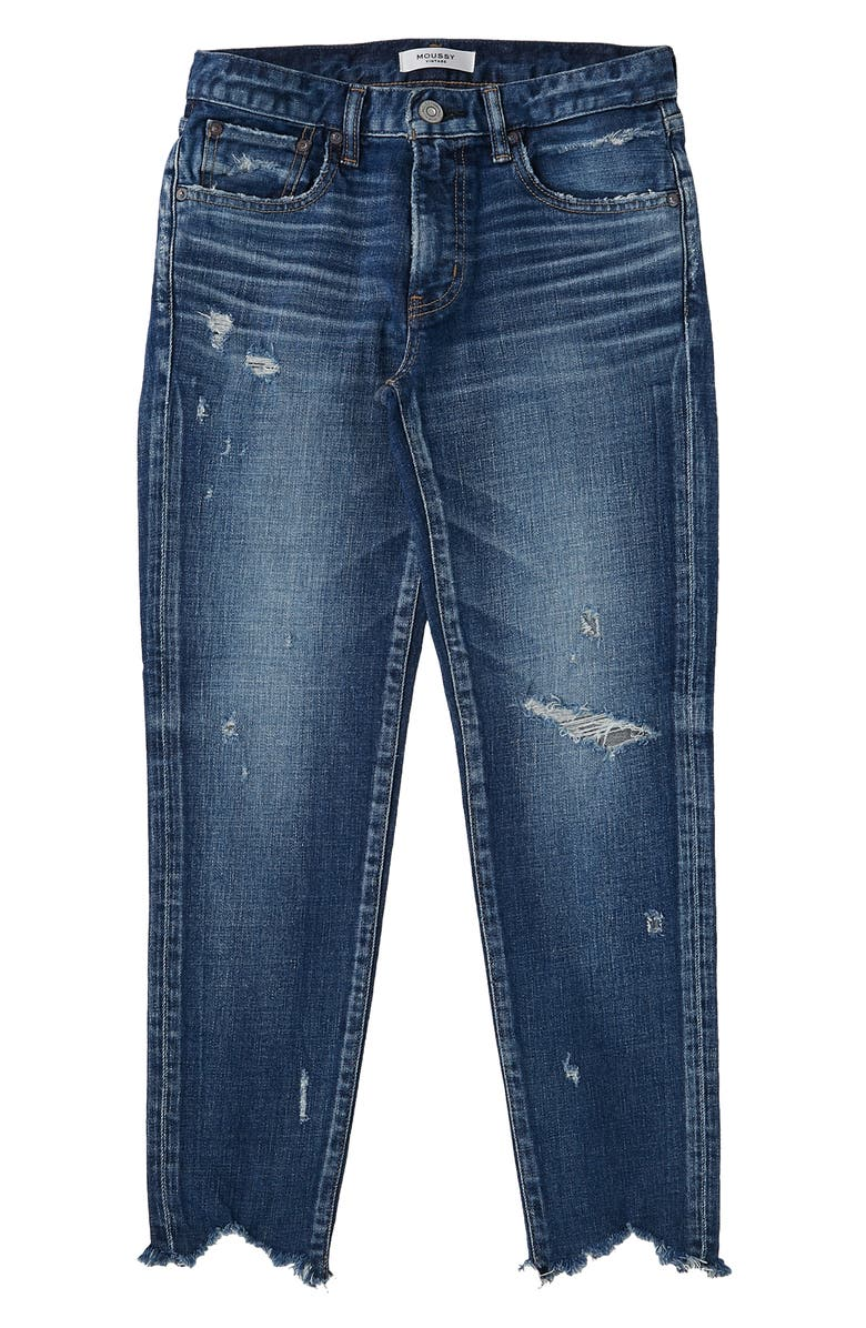 MOUSSY Glendele Ripped Crop Skinny Jeans, Main, color, Blue
