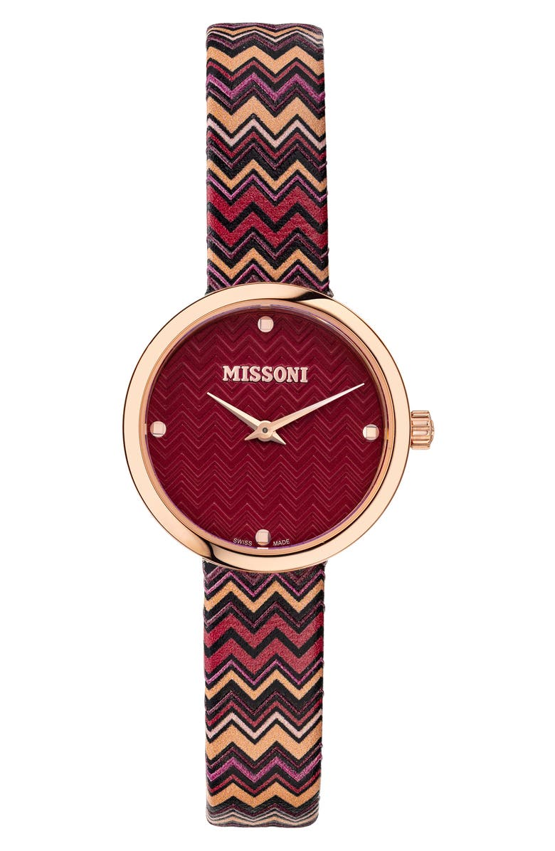 MISSONI M1 Joyful Chevron Leather Strap Watch, 29mm, Main, color, ROSE GOLD / RED