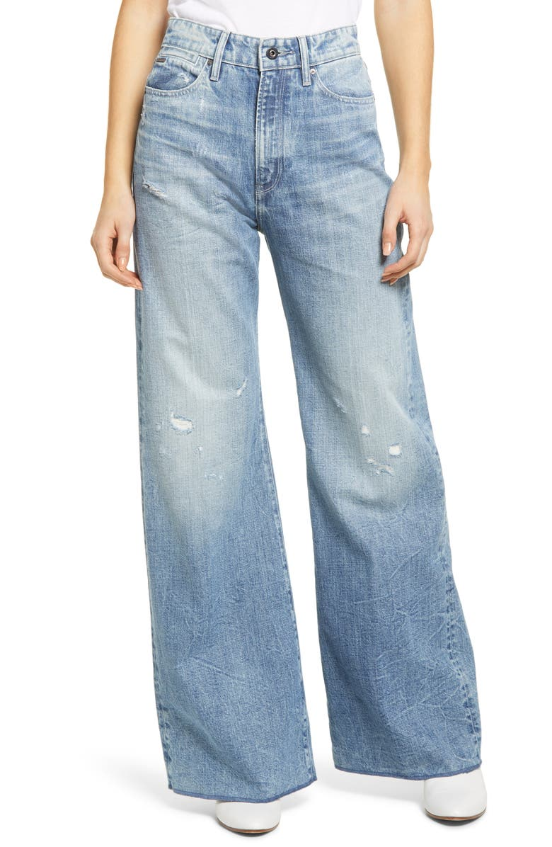 G-STAR RAW Deck Ultra High Waist Wide Leg Jeans, Main, color, SUN FADED ICE FOG DESTROYED