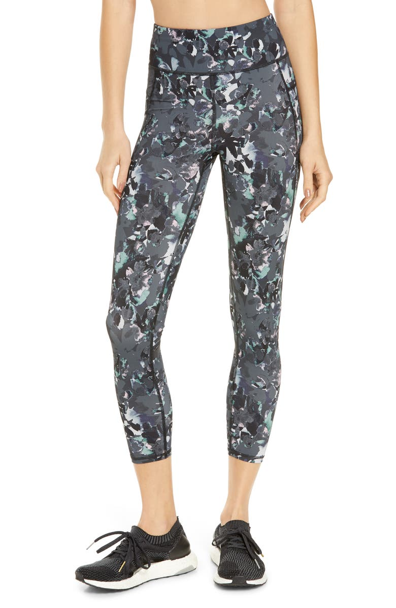 SWEATY BETTY Zero Gravity Pocket 7/8 Running Leggings, Main, color, SLATE GREY NOURISH PRINT