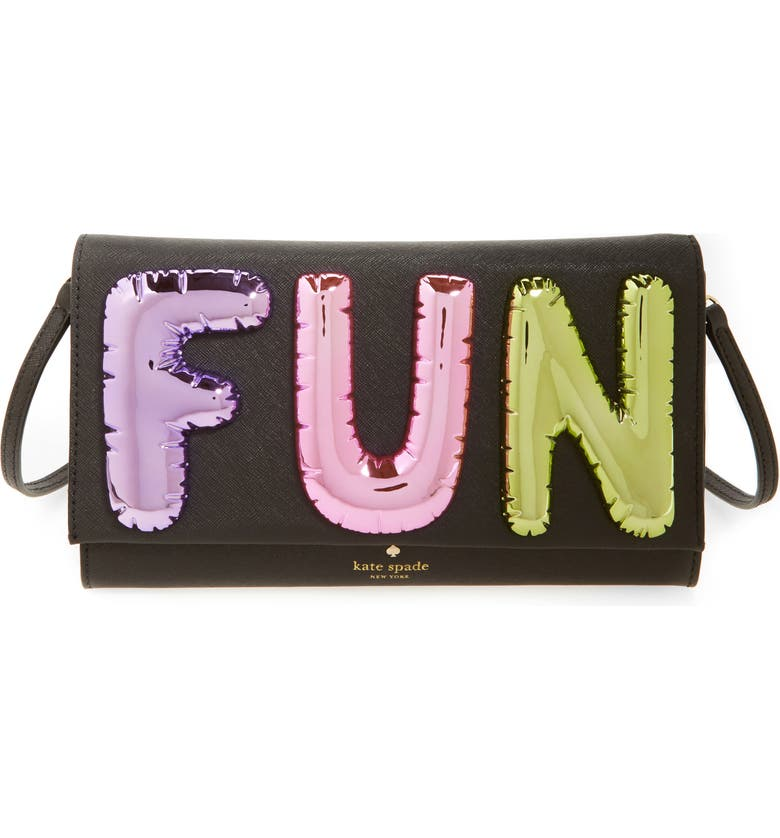 KATE SPADE NEW YORK whimsies fun balloon saffiano leather clutch, Main, color, 004