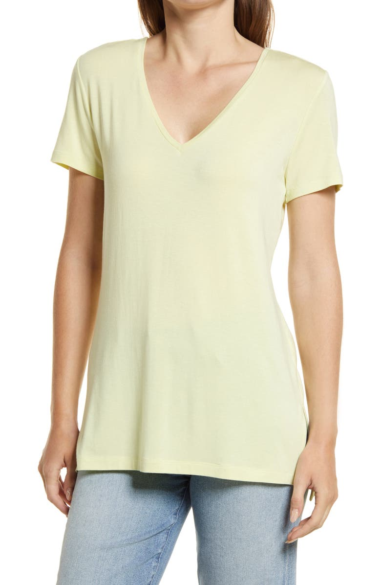HALOGEN<SUP>®</SUP> V-Neck Tunic T-Shirt, Main, color, GREEN WHEAT