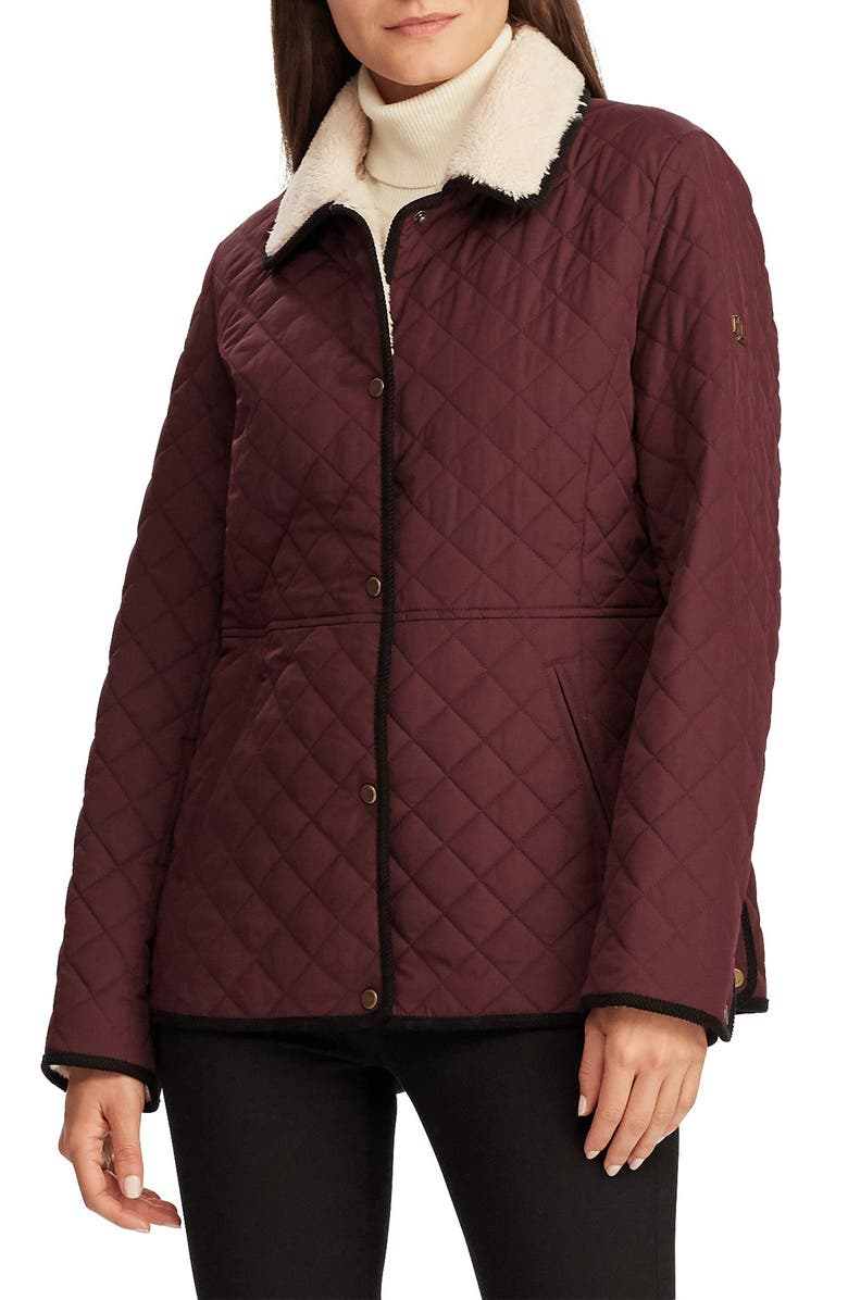 LAUREN RALPH LAUREN Faux Shearling Collar Quilted Jacket, Main, color, CRANBERRY