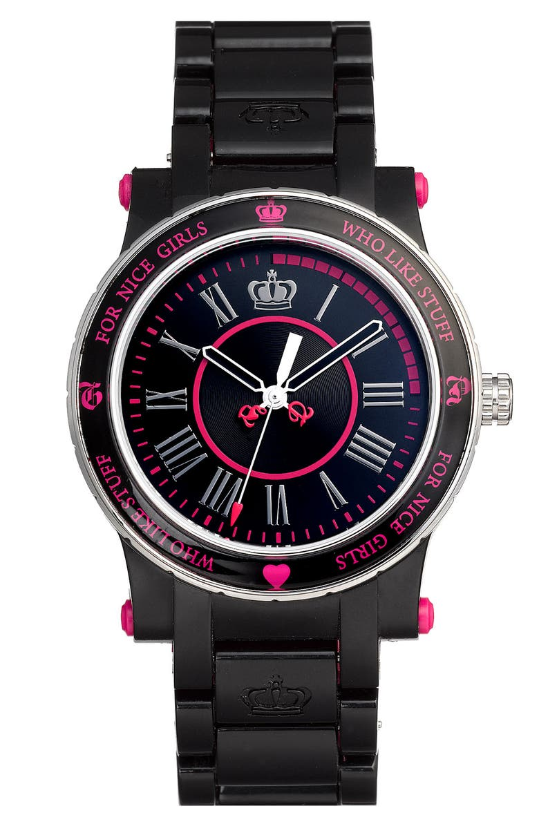 JUICY COUTURE 'Her Royal Highness' Plastic Watch, Main, color, 001